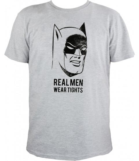 "Batman - Herren T-Shirt, grau melange - ""Real Men wear tights"""