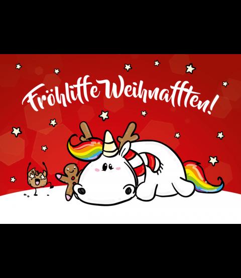 """Pummeleinhorn Postkarte A6,  """"Fröhliffe Weihnafften"""""""