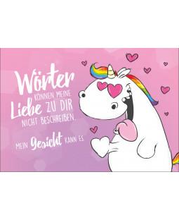 """Pummeleinhorn Grußkarte mit Umschlag, Nr. 2, """"Liebe"""""""