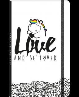 """Pummeleinhorn Notizbuch DIN A5+, """"loveandbeloved"""""""