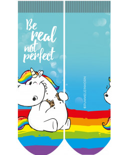 "Pummeleinhorn Fotosocken, ""Be real not perfect"""