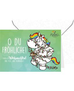 """Pummeleinhorn Grußkarte mit Umschlag, """"Oh du Fröhliche!"""""""
