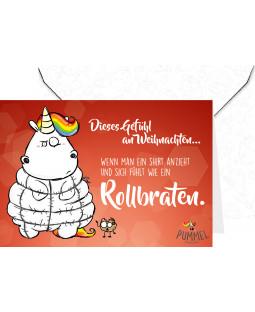 """Pummeleinhorn Grußkarte mit Umschlag, """"Rollbraten!"""""""