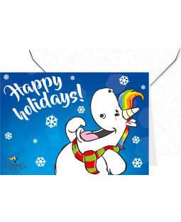 """Pummeleinhorn Grußkarte mit Umschlag, """"Happy Holidays!"""""""