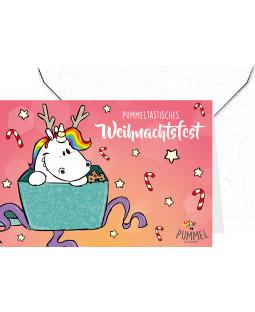"""Pummeleinhorn Grußkarte mit Umschlag, """"Weihnachtsfest!"""""""