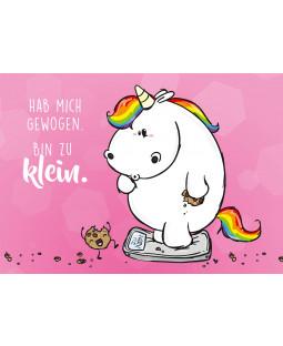 "Pummeleinhorn Postkarte A6, "" Bin zu klein"""