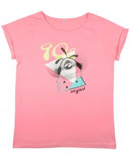 """Diddl T-shirt """"90's"""" koralle, 100% Baumwolle für Damen und Teens"""