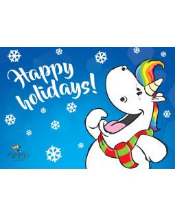 "Pummeleinhorn Postkarte A6,  ""Happy holidays"""