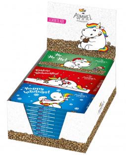 """Pummeleinhorn Schokolade """"Weihnachten"""" im Display"""